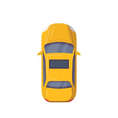 Illustration for Top view of modern car. Flat style vector illustration. Modern vehicle banner. New motor car from above view. Sedan auto with sunroof in yellow color. Taxi car. - Royalty Free Image