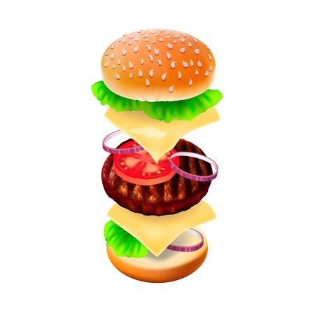 Hamburger - the view of every ingredient