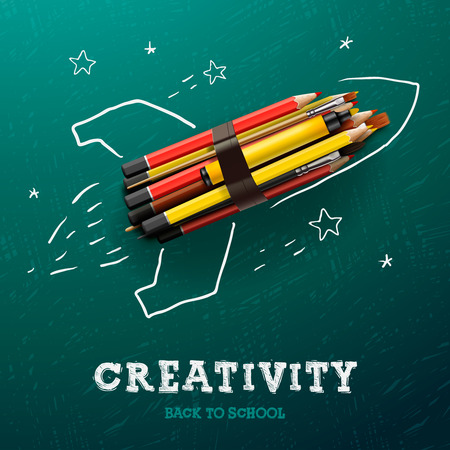 Creativity learning. Rocket ship launch with pencils - sketch on the blackboard, vector image.