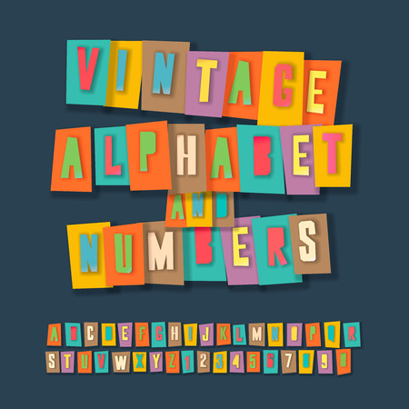 Vintage alphabet and numbers, colorful paper craft design, cut out by scissors from paper.