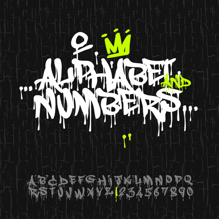 Graffiti alphabet and numbers, vector image.