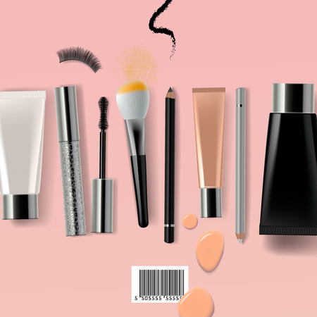 Makeup brush and cosmetics, vector illustration.