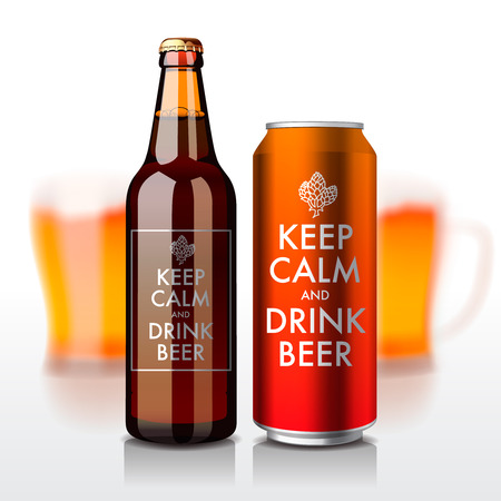Illustration pour Beer bottle and can with label - Keep Calm and drink beer, vector eps10 illustration. - image libre de droit