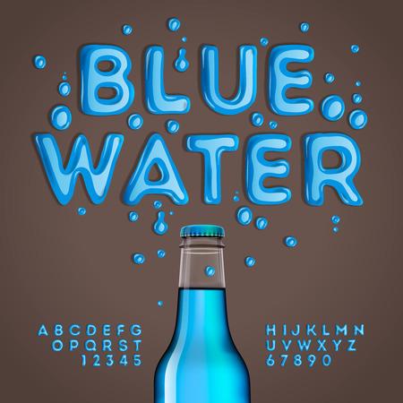 Illustration pour Blue water alphabet and numbers, vector eps10 illustration. - image libre de droit