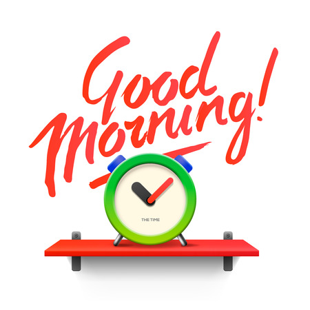 Good Morning. Workspace mock up with analog alarm clock, vector illustration.