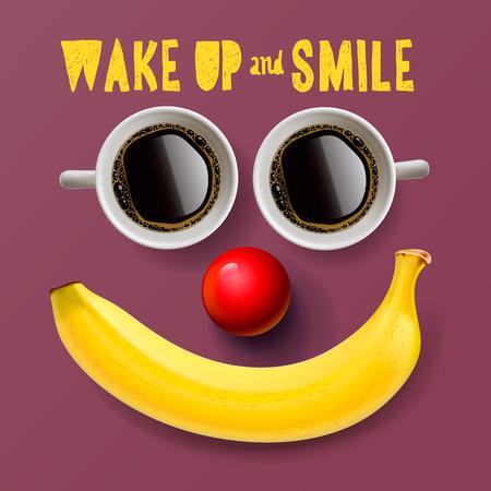 Wake up and smile, motivation background, vector illustration.