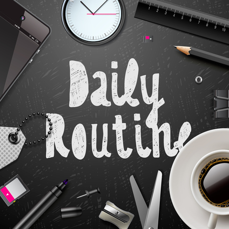 Daily routine, modern office supplies, cup of coffee in black and white style, vector illustration.