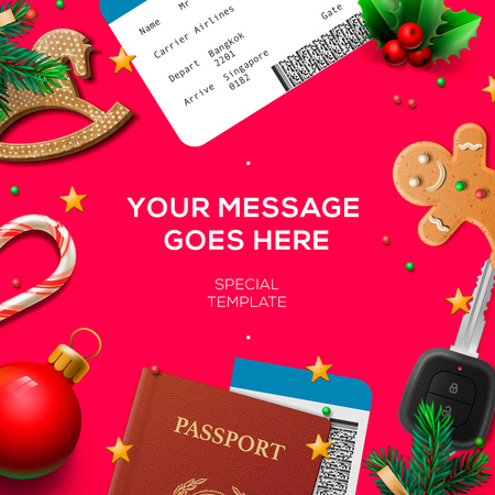 Winter holiday, Christmas travel template, pink background