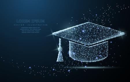 Illustration pour Graduate cap. Polygonal wireframe mesh looks like constellation. Education, university, success illustration or background - image libre de droit