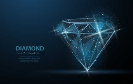 Ilustración de Diamond. Jewelry, gem, luxury and rich symbol, illustration or background - Imagen libre de derechos