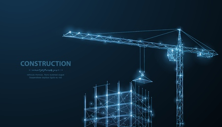 Photo pour Construction. Polygonal wireframe building under crune on dark blue night sky with dots, stars. - image libre de droit