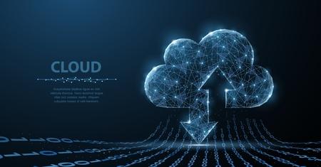 Photo pour Cloud technology. Polygonal wireframe art looks like constellation. Concept illustration or background - image libre de droit