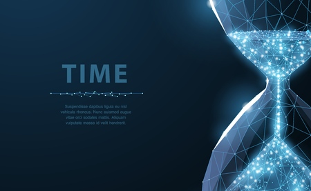 Illustration pour Sandglass. Low poly wireframe sandglass looks like constellation on dark blue background with dots and stars. Time, countdown, deadline concept illustration or background - image libre de droit