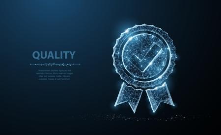 Illustration pour Low poly Quality icon check. - image libre de droit