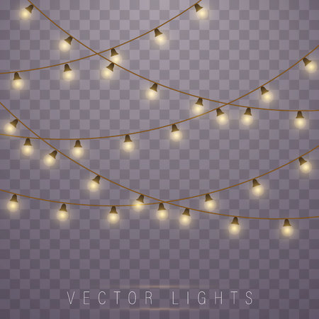 Ilustración de Christmas lights isolated on transparent background. Led neon lamp. Glowing lights for Xmas Holiday cards, banners, posters, web design. Garlands decorations. - Imagen libre de derechos