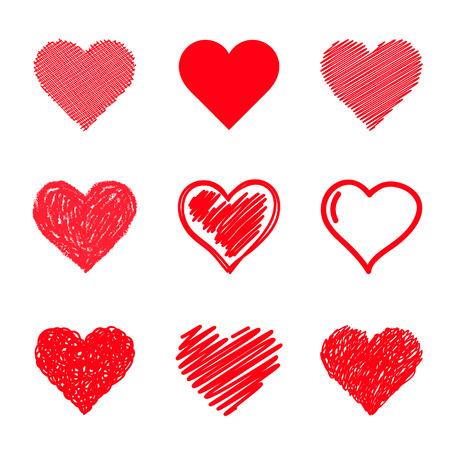 Foto de Vector hearts set. Hand drawn. - Imagen libre de derechos