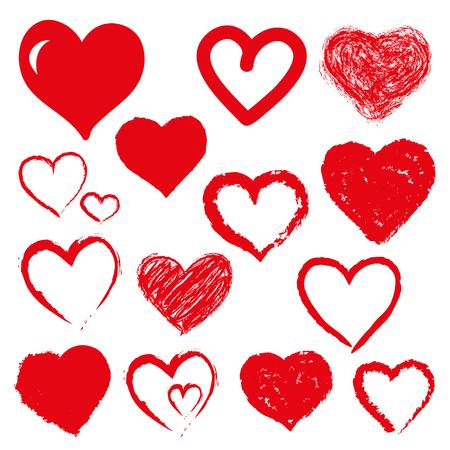 Illustration pour set of hearts. Red color - image libre de droit