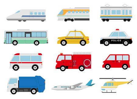 Illustration for Variety Vehicles, airplanes. - Royalty Free Image