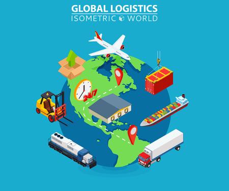 Illustration pour Global logistics cargo flat isometric pixel art modern design concept vector illustration. - image libre de droit