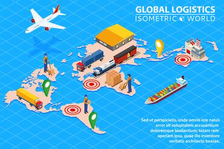 Illustration pour Global logistics network Flat 3d isometric vector illustration Set of air cargo trucking rail transportation maritime shipping. - image libre de droit