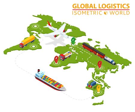 Photo pour Global logistic isometric vehicle info graphic. Ship cargo truck van logistics service. Import export chain. Ensured deliveries drawing. - image libre de droit