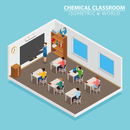 Illustration pour School and learning isometric concept with teacher and children on blue background - image libre de droit