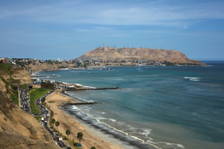 Coastal view of the districts of Barranco and Chorrillos in Lima, Peru