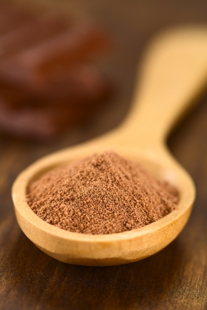 Cocoa powder on wooden spoon with chocolate pieces in the back  Very Shallow Depth of Field, Focus one third into the cocoa