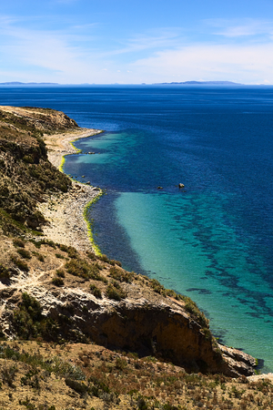 Shoreline on the northern tip of the popular travel destination Isla del Sol (Island of the Sun) in Lake Titicaca close to Copacabana in Bolivia