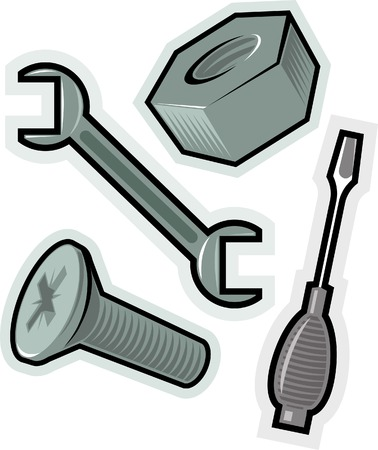 Objects for screwing. Vector illustration.