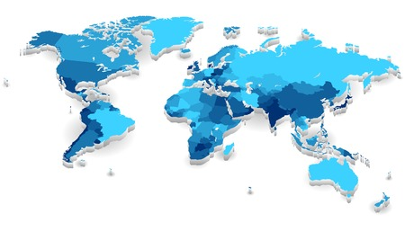 World map with countries in cool colors. Vector illustration.