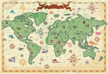 Retro-styled map of the World with trees, volcanos, mountains and fantasy monsters.