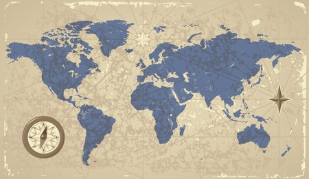 Retro-styled World map with compass and wind-rose. Vector illustration.