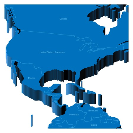 Map of United States with national borders and country names ...