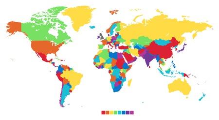 Worldmap in rainbow colors. Vector illustration.