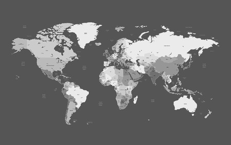 Detailed vector World map of gray colors. Names, town marks and national borders are in separate layers.