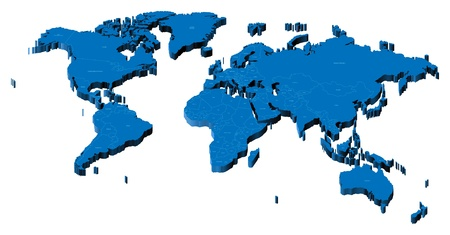 Map of the World with national borders and country names. Pseudo-3d vector illustration.