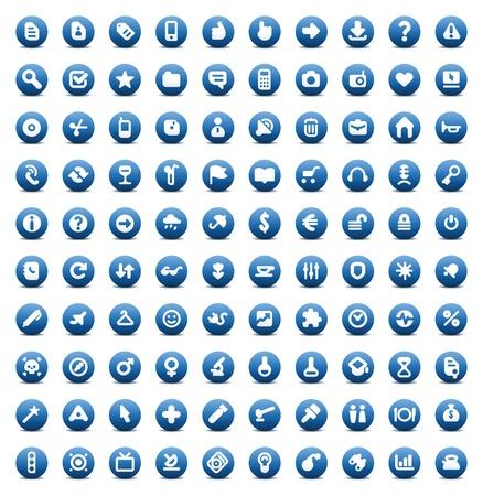 Ilustración de 100 web, business, media and leisure icons set. Blue vector buttons. - Imagen libre de derechos