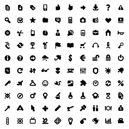 Set of one hundred icons for website interface, business designs, finance, security and leisure. Vector illustration.