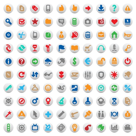 Set of one hundred multicolored buttons and icons for website interface, business designs, finance, security and leisure. Vector illustration.