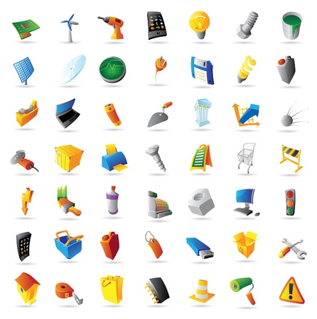 Icons for industry, technology and computers. Vector illustration.