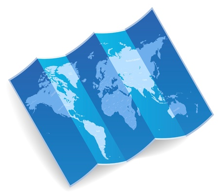 Blue folded world map  Vector illustration