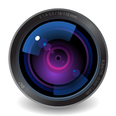 Icon for camera lens. White background.
