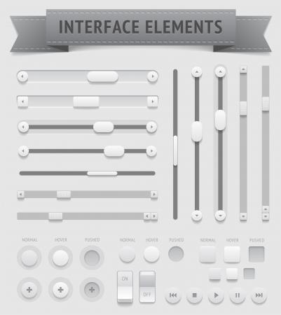 Illustration pour User interface elements  , file contains objects with transparency  shadows etc    - image libre de droit