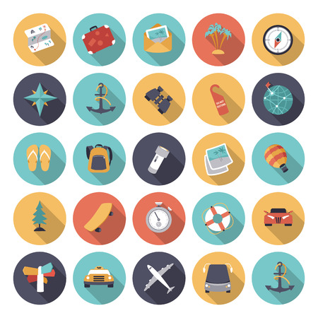Flat design icons for travel and transportation.