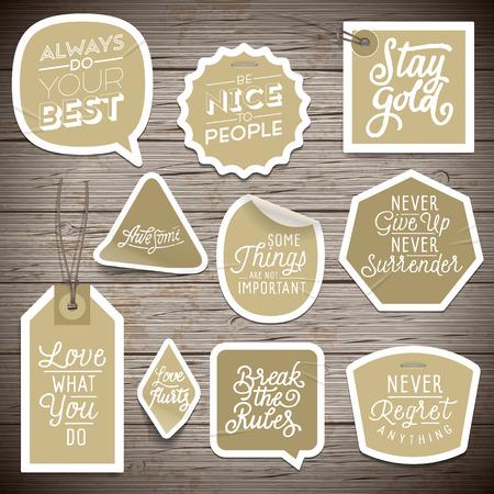 Illustration pour Stickers on rustic wood background. Vector illustration. - image libre de droit