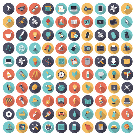 Flat design icons for technology, science and industrial. Vector eps10 with transparency.