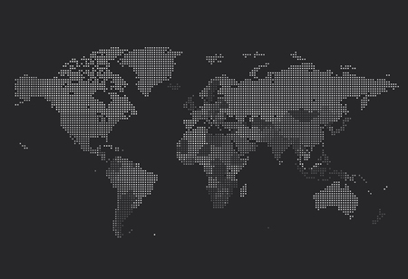 Illustration pour Dotted World map of square dots on dark background. Vector illustration. - image libre de droit
