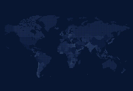 Ilustración de Dotted World map of square dots on dark background. Vector illustration. - Imagen libre de derechos