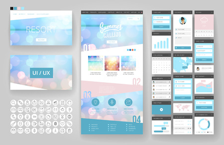 Illustration for Website template, one page design, headers and interface elements. Travel agency, tropical summer resort. - Royalty Free Image